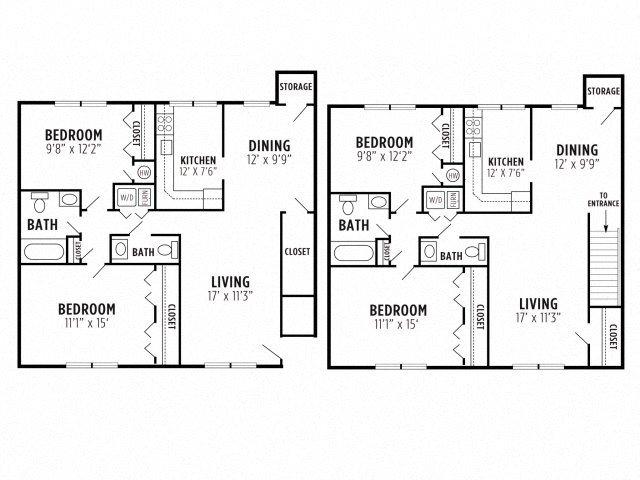 2 Bed 1.5 Bath Floor Plan 3