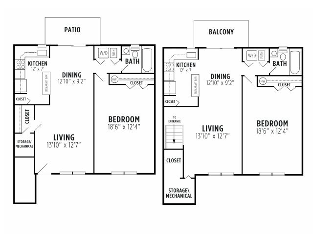 1 Bed 1 Bath B Floor Plan 2