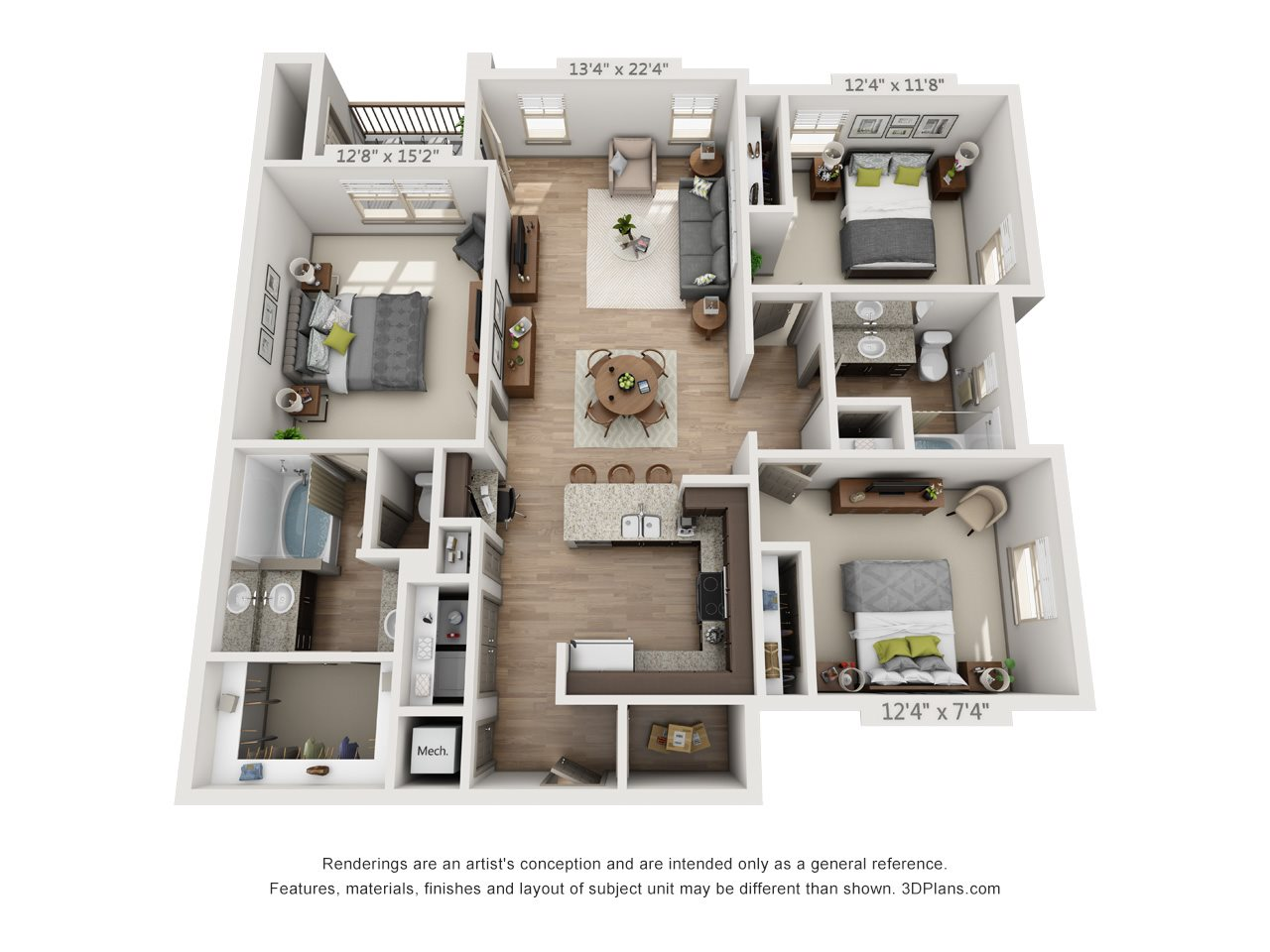 Morehouse with 2 Car Garage Tandem Floor Plan 7