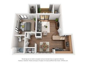 The Positano | 1 Bedroom 1 Bathroom | 776 sq. ft.