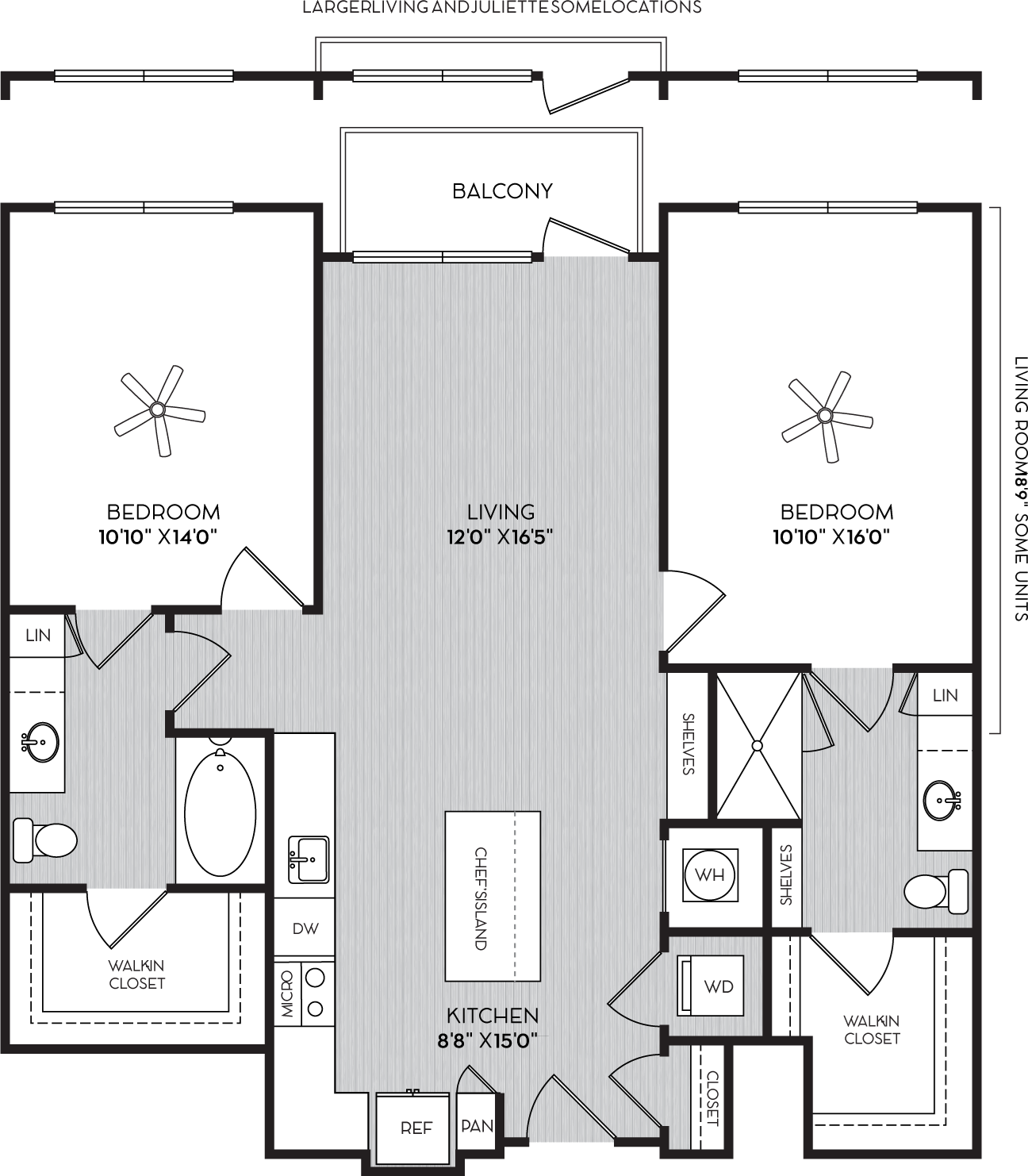 B-1a Two Bedroom Floor Plan with Balcony at Apartments in Vinings