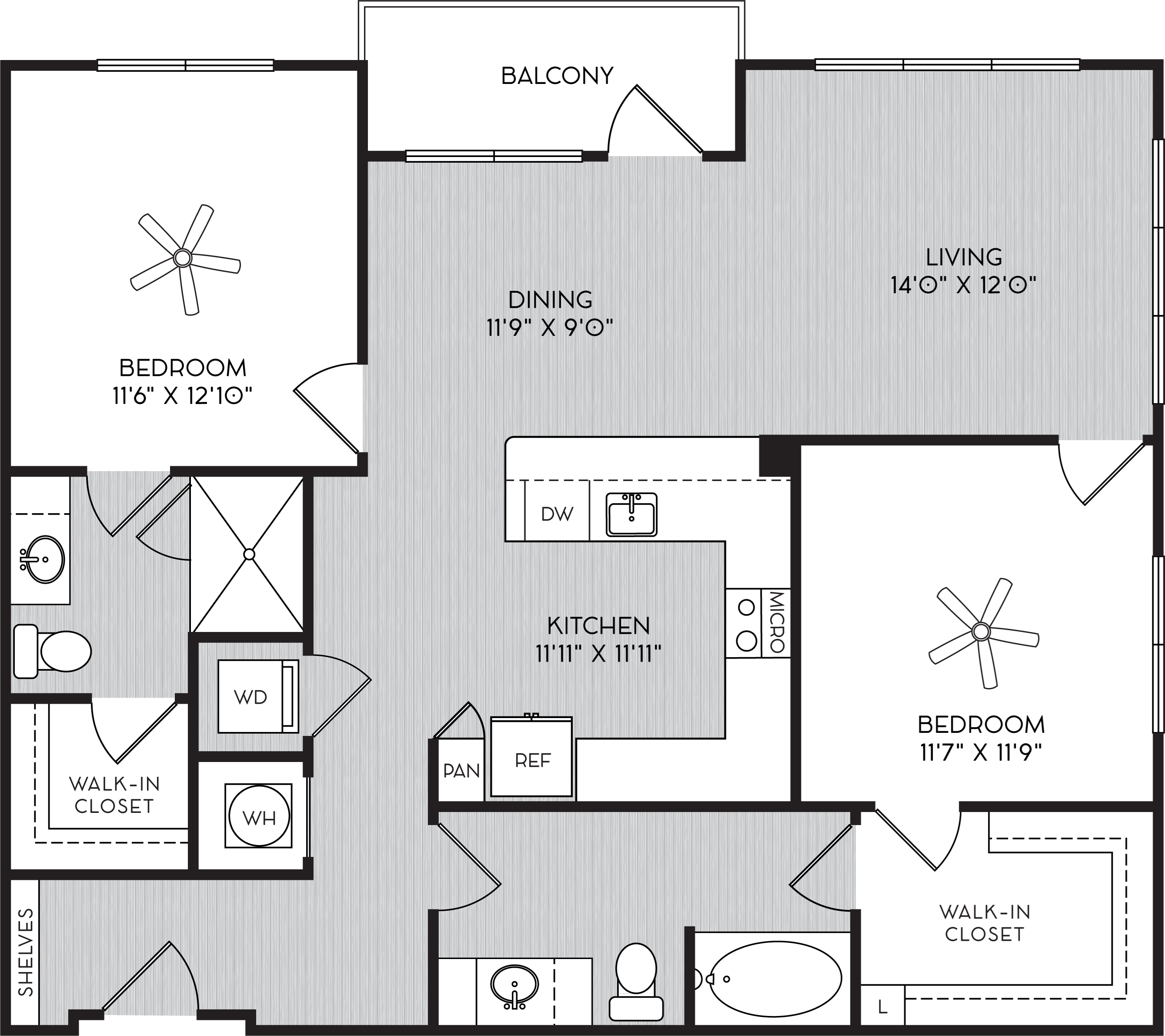 B2a Two Bedroom Floor Plan with Balcony at Apartments in Vinings
