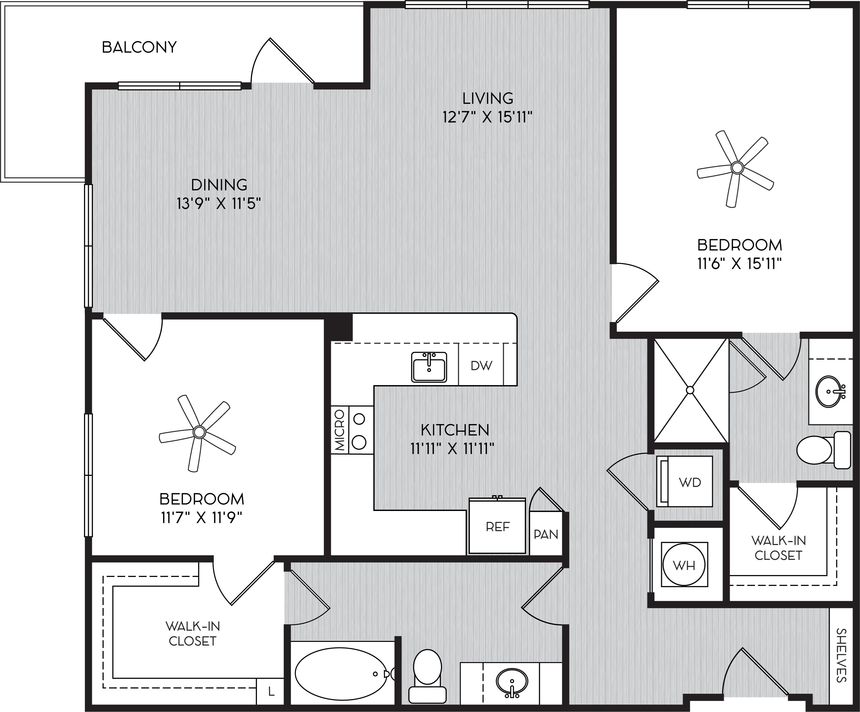 B2c Two Bedroom Floor Plan with Corner Balcony at Apartments in Vinings