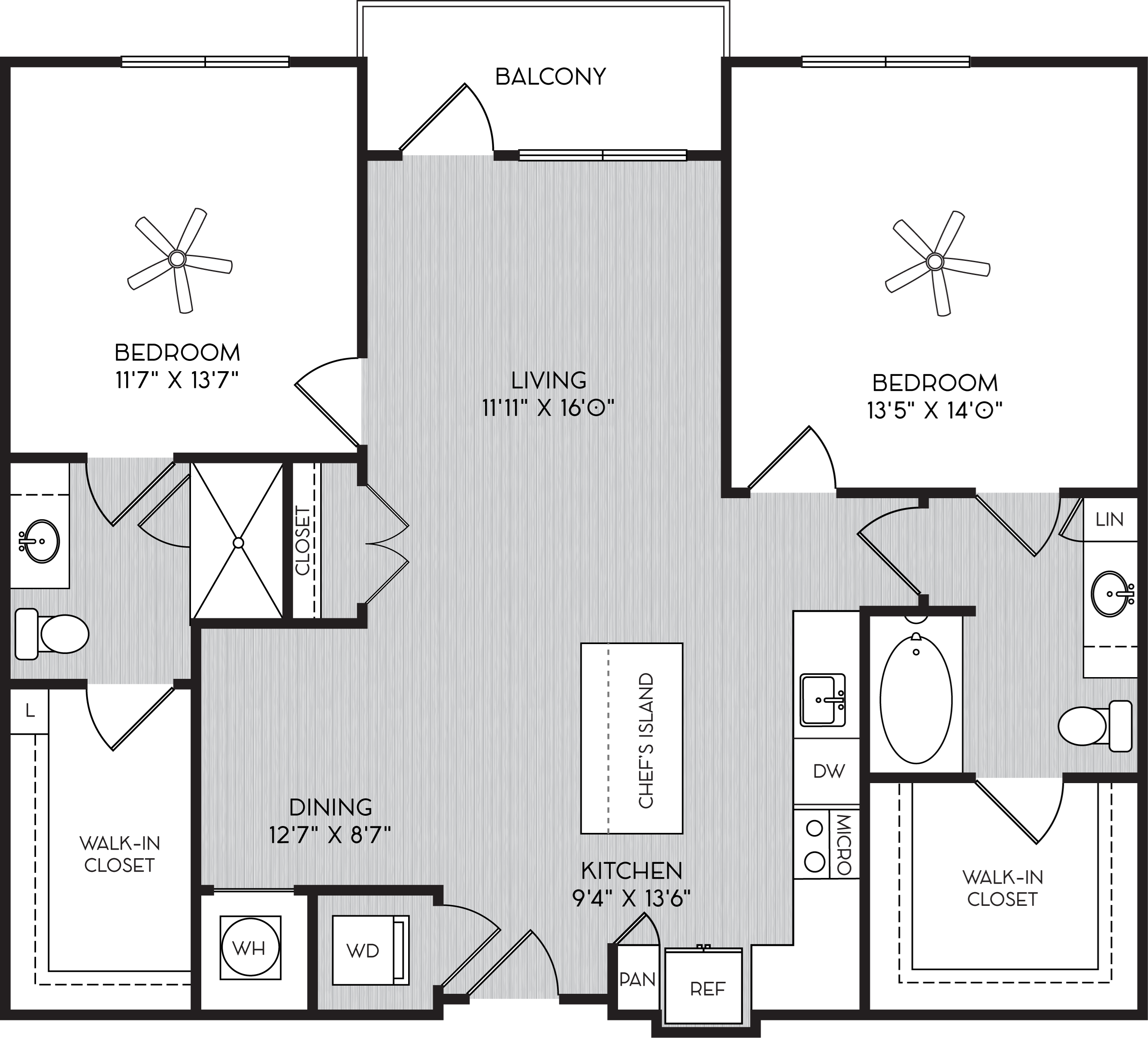 B1f Two Bedroom Floor Plan with Balcony at Apartment Homes For Rent in Vinings, GA