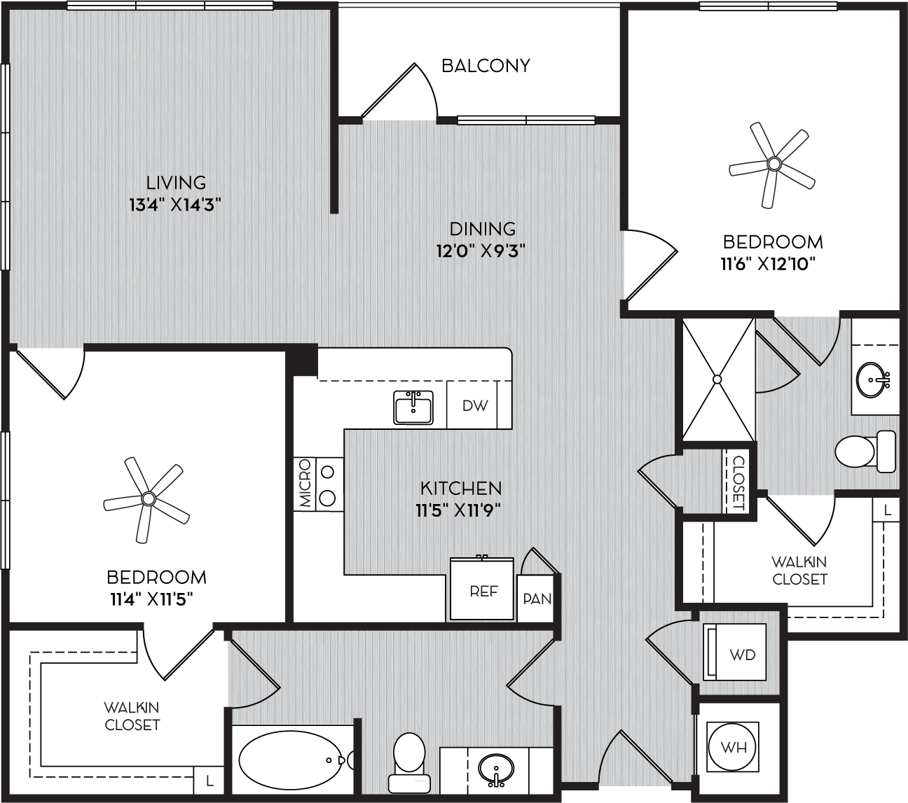 B2b Two Bedroom Floor Plan with Balcony at Apartments in Vinings