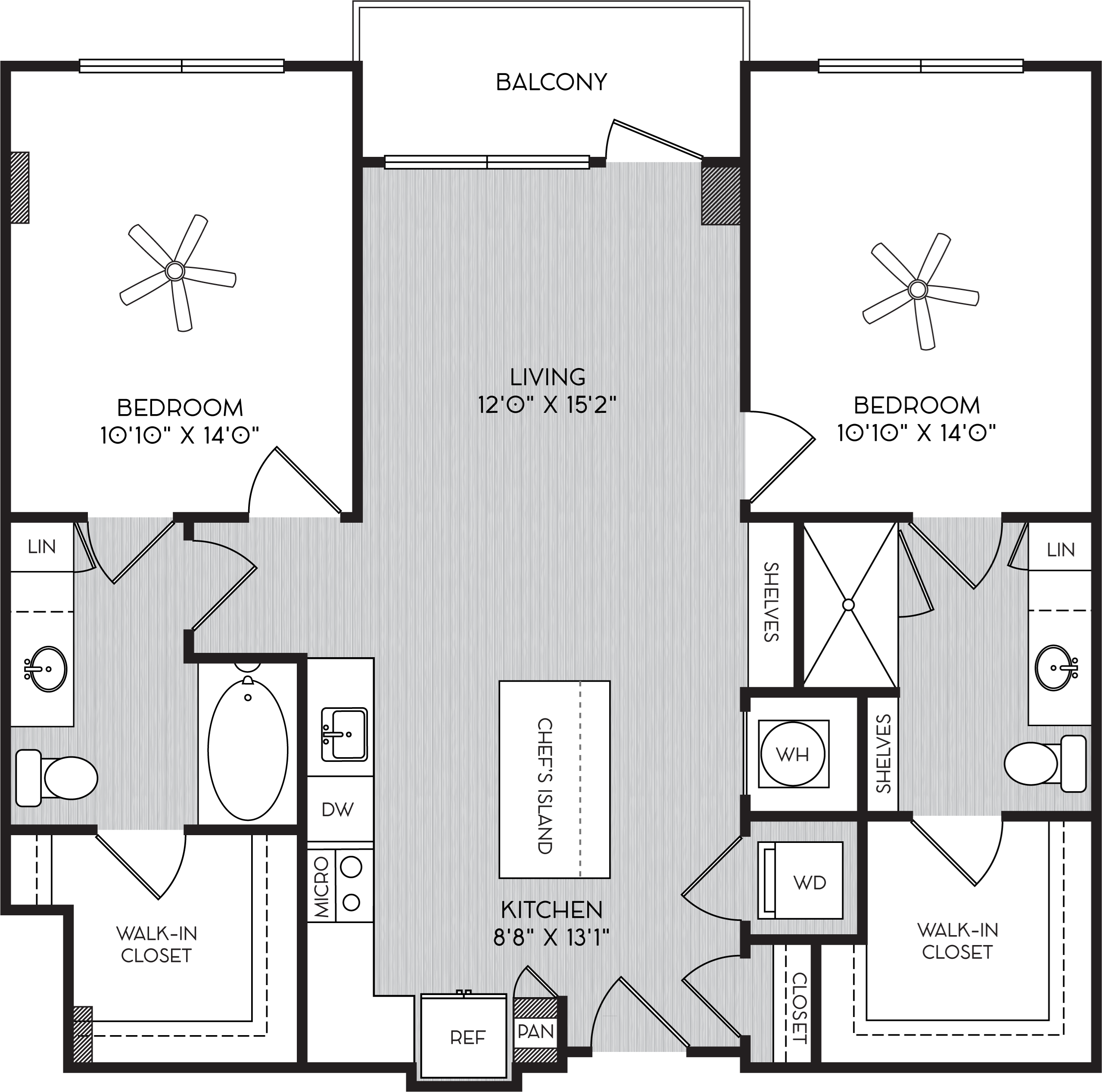 B4 Two Bedroom Floor Plan with Balcony at Apartments in Vinings