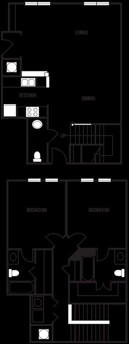 Dual Level 2x2.5 1368 SF