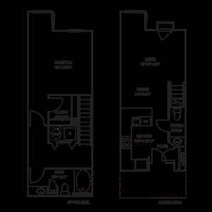Dual Level 1x1.5 910 SF