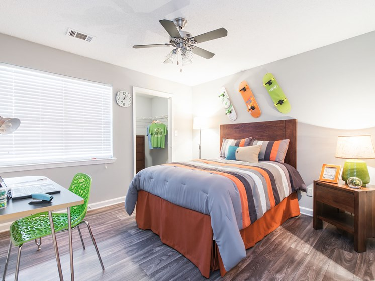 Bedroom With Large Window And Ceiling Fan at Echelon Park, McDonough, Georgia