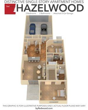 Hazelwood- 2 Bed, 2 Bath, 2-Car Garage