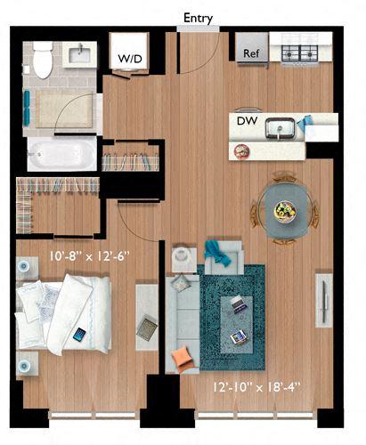 1 Bedroom/1 Bathroom (A05)