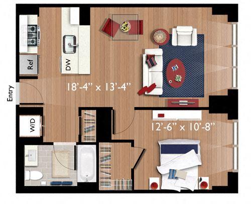 1 Bedroom/1 Bathroom (A08)