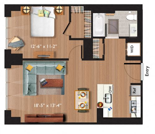 1 Bedroom/1 Bathroom (A10F) Call for Income Restrictions