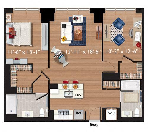 2 Bedrooms/2 Bathrooms (C02)