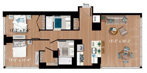 2 Bedrooms/2 Bathrooms (C07)