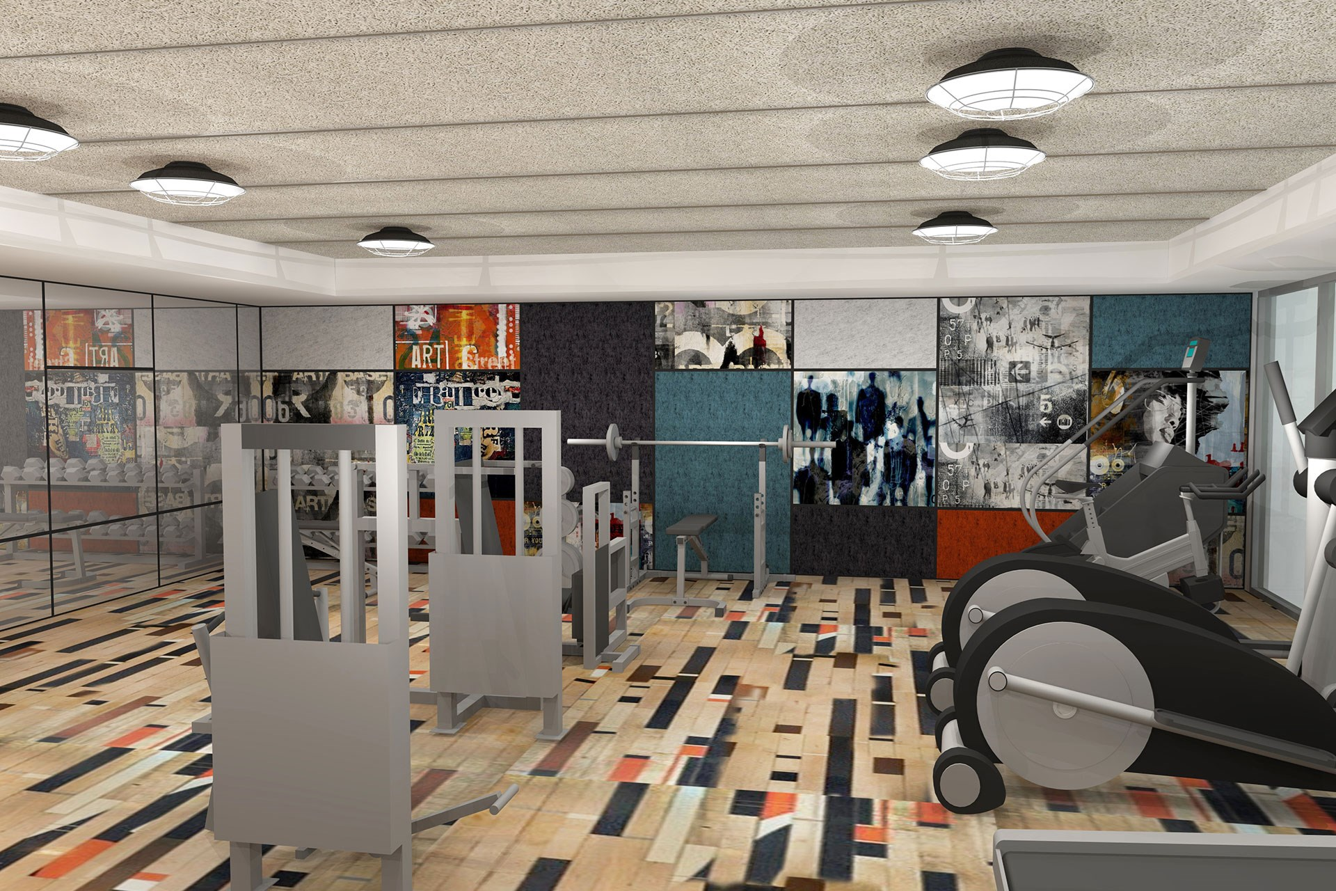 24-Hr Fitness Center with Reclaimed Gym Floors