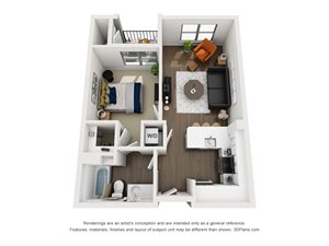Fremont9 Apartment_Las Vegas NV_Floor Plan_A1_One Bedroom One Bathroom