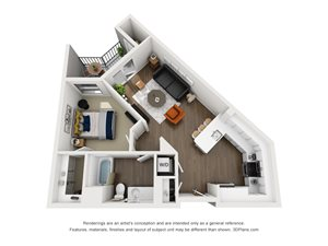 Fremont9 Apartment_Las Vegas NV_Floor Plan_A2_One Bedroom One Bathroom