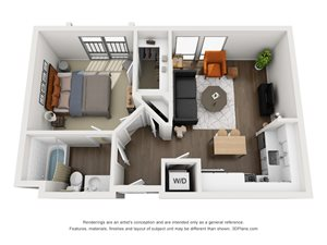 Fremont9 Apartment_Las Vegas NV_Floor Plan_A3_One Bedroom One Bathroom