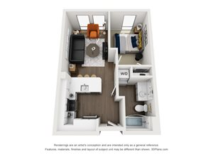 Fremont9 Apartment_Las Vegas NV_Floor Plan_A4_One Bedroom One Bathroom