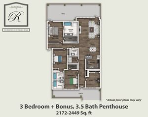 3 Bedroom, 3.5 Bath Penthouse