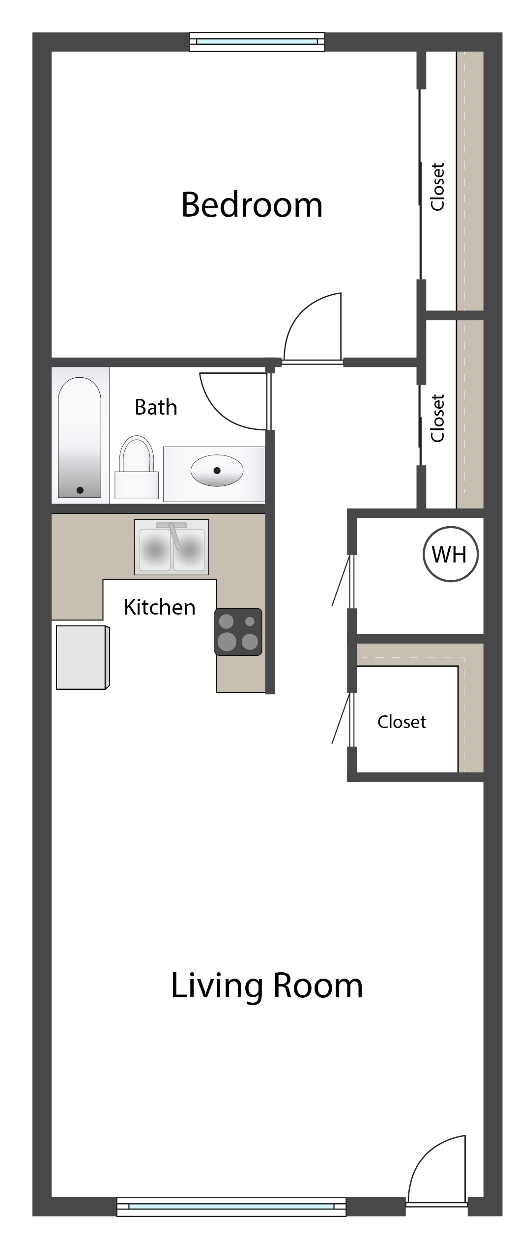 One Bedroom A Floor Plan 1