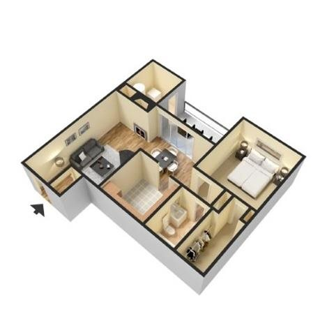 A2 1 Bedroom 1 Bathroom 720 sf Floor Plan 2