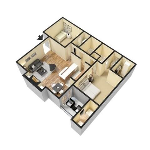 B1 2 Bedroom 2 Bathroom 900 sf Floor Plan 4