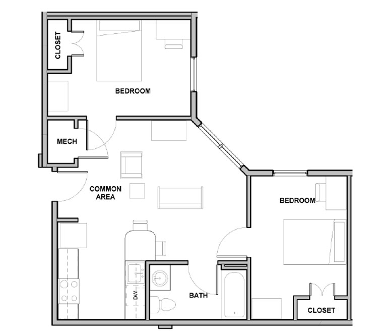 2 Bedroom/ 1 Bath Floor Plan 2