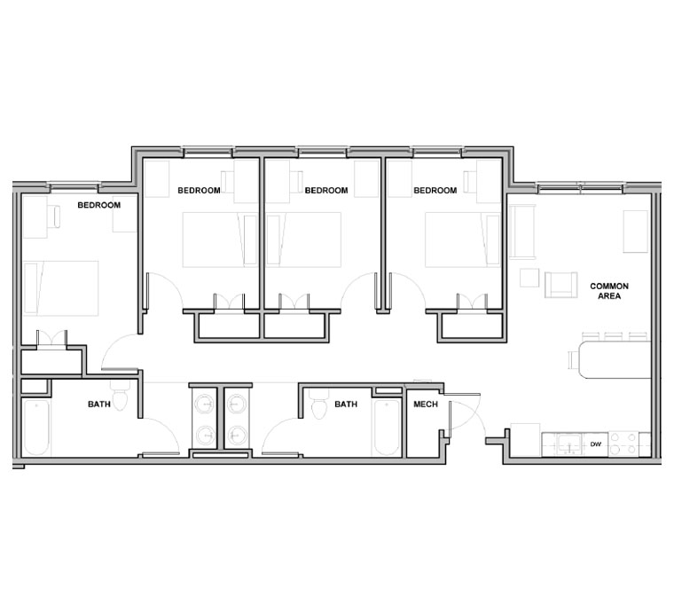 4 Bedroom/ 2 Bath Floor Plan 1