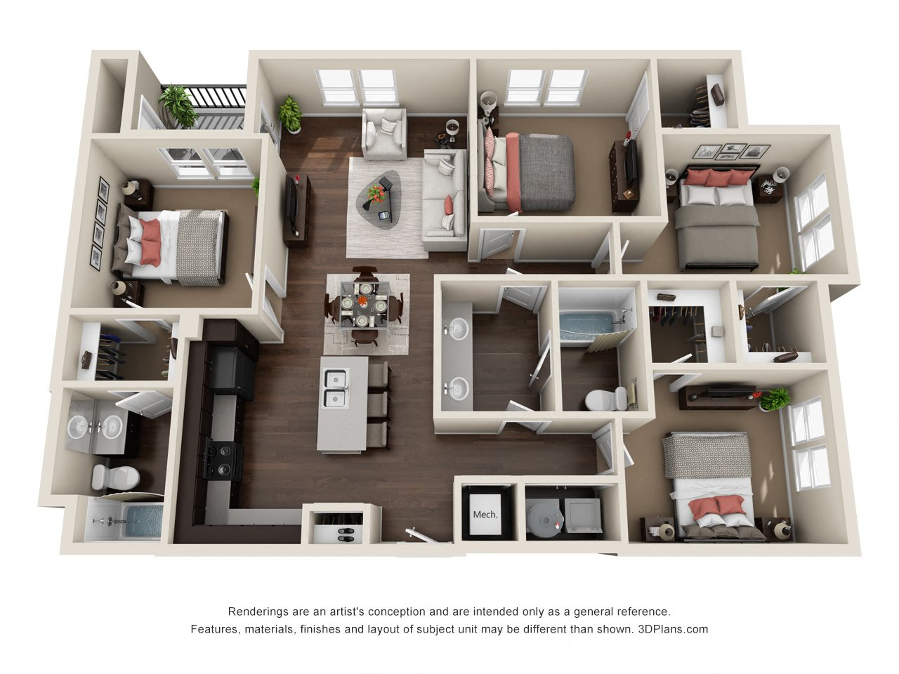 Unit D Floor Plan 4
