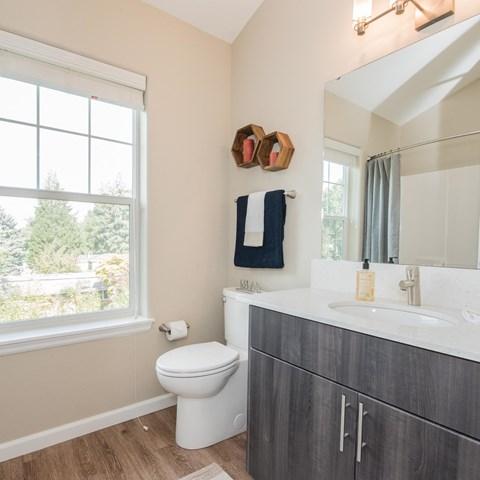 Latitude Happy Valley OR Apartments for Rent-Bathroom with Wood Flooring
