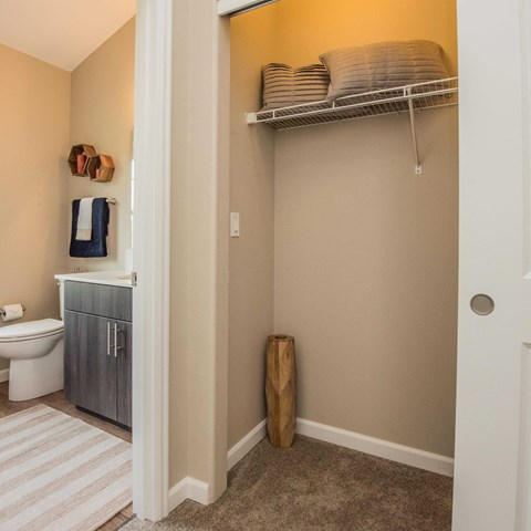 Bathroom neat closet Apts For Rent in Happy Valley, OR at Latitude