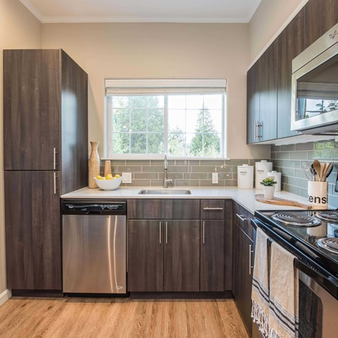 Latitude Luxury Apartments in Happy Valley OR- Kitchen with Stainless Steel Appliances