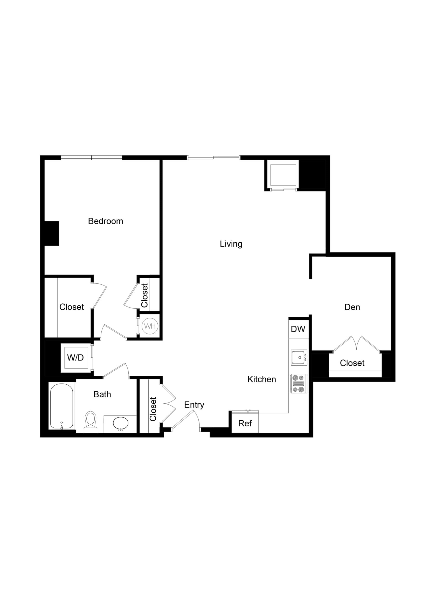 1x1 Den AD04 Floor Plan 35