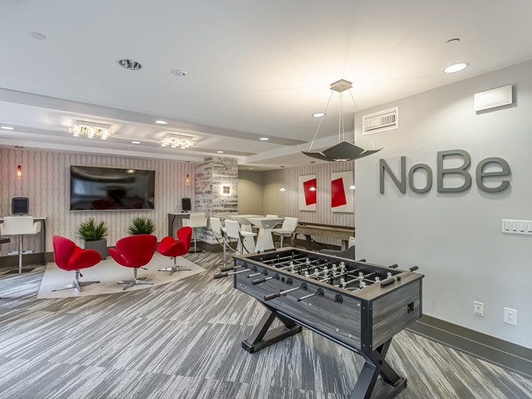 NoBe Market Apartments front office and fooseball table