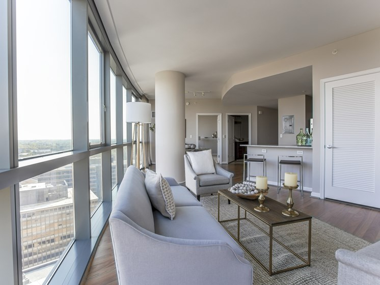 NoBe Market Apartments living room floor to ceiling windows