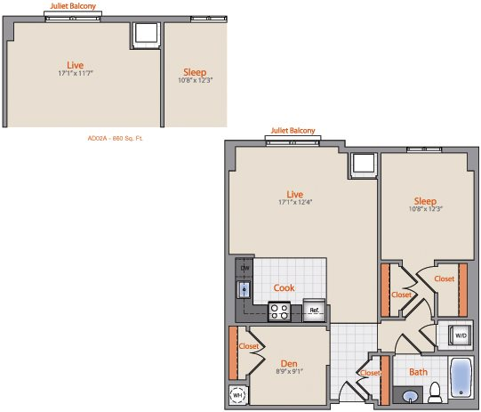 1x1- Den AD02B Floor Plan 32