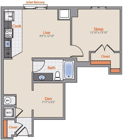 1x1 Den AD01 Floor Plan 29