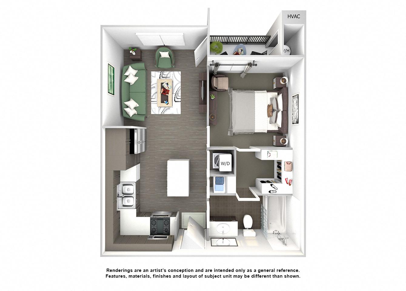 3d floor plan of A1 Cottonwood one bedroom