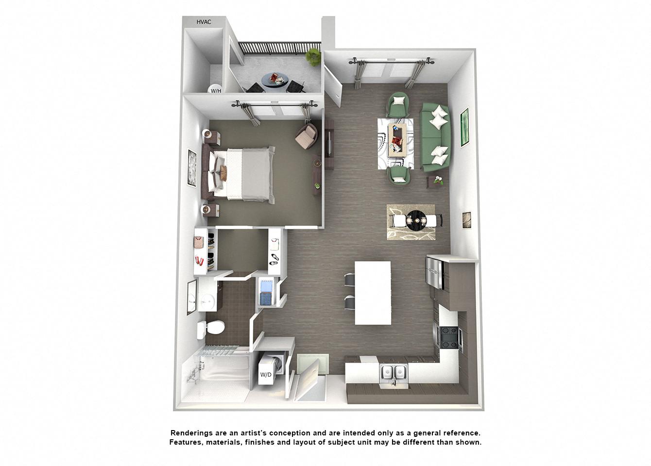 3d floor plan of A2 Railbender one bedroom