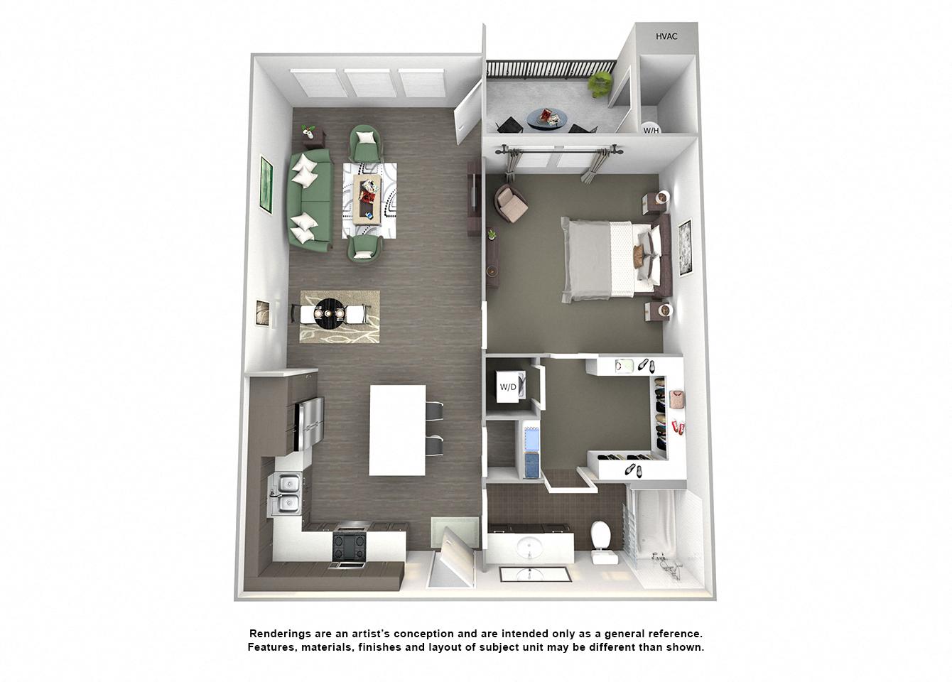 3d floor plan of A3 Challenger one bedroom