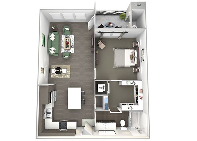 Enclave at Cherry Creek A3 1 bedroom floor plan 3D