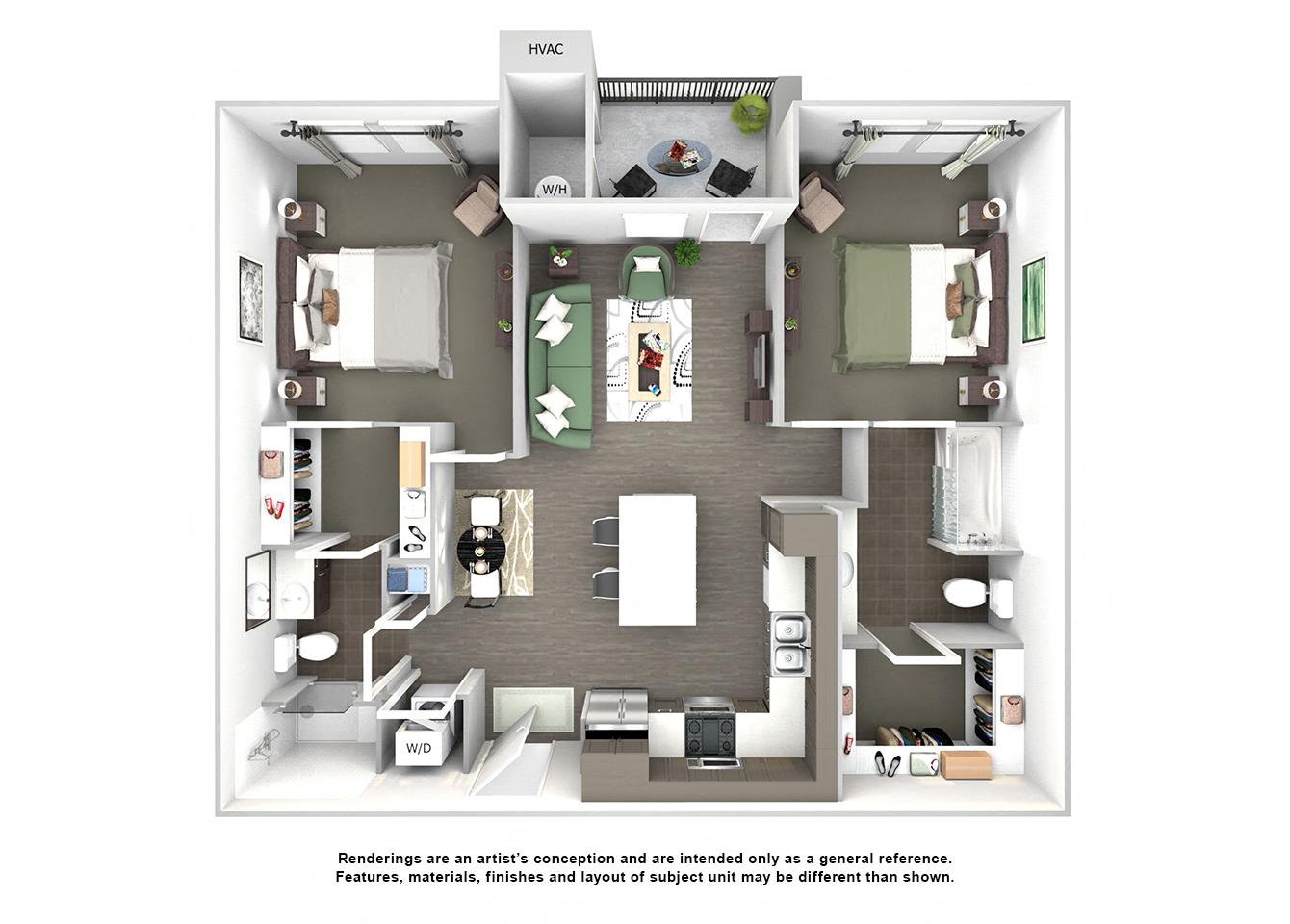 3d floor plan of B1 Auburn Hills two bedroom