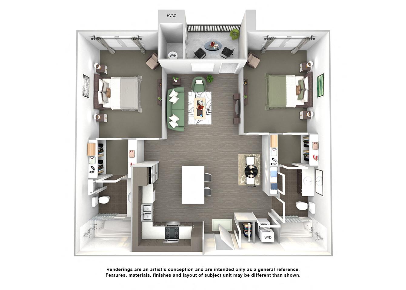 3d floor plan of B2 OBrien two bedroom