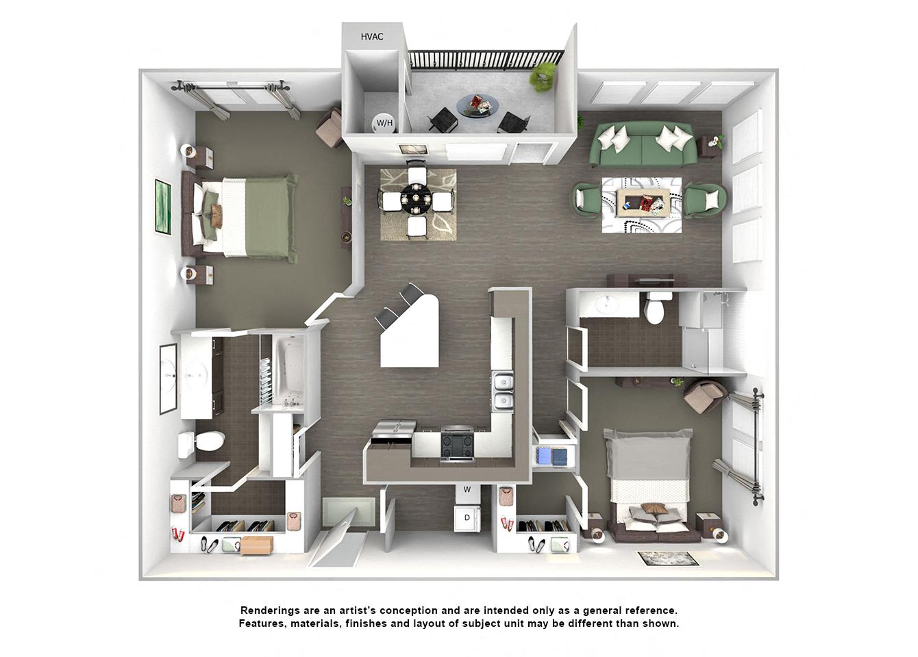 3d floor plan of B3 17 Mile HF two bedroom