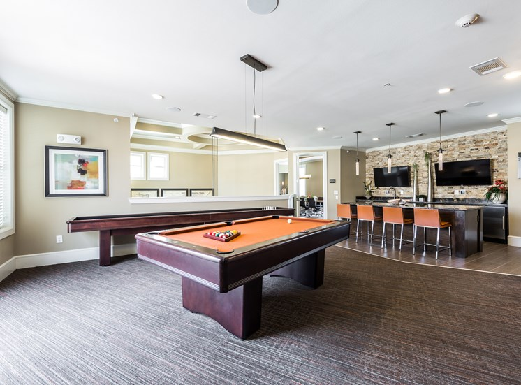 Clubhouse with Billiards and Shuffleboard at Grand at the Dominion, San Antonio, TX 78257
