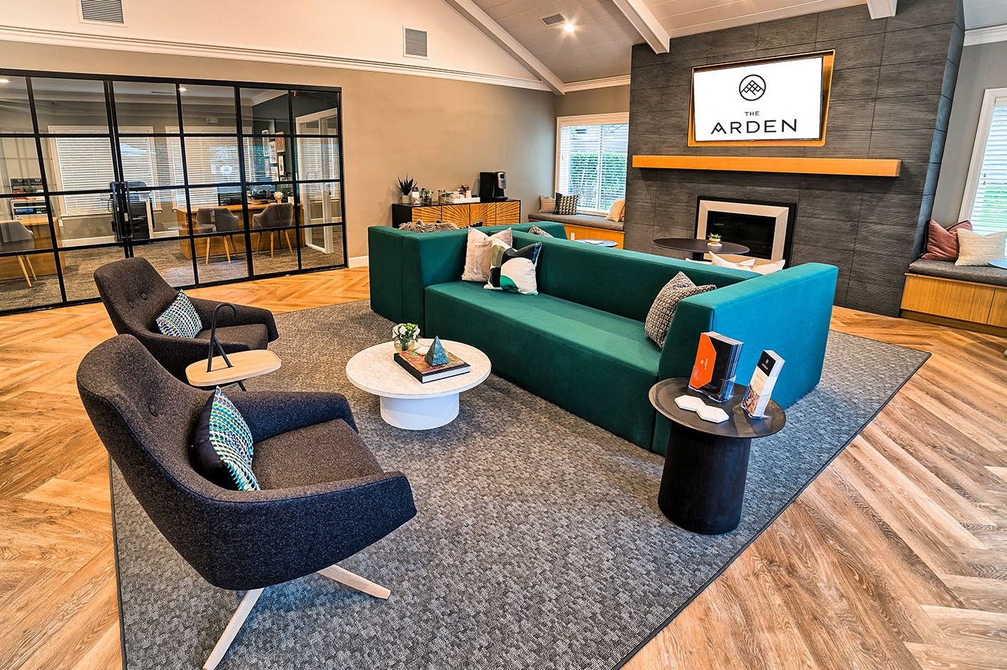 Clubhouse seating and TV Apts For Rent at 765 SE Mount Hood Hwy Gresham OR l The Arden
