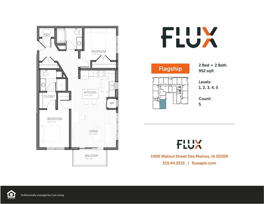 Apartment Floor Plan for Flux Apartments Des Moines IA