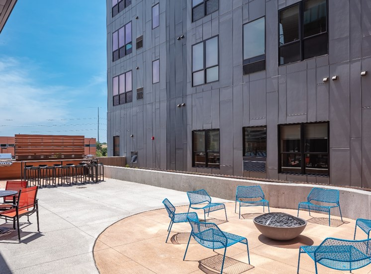 Courtyard and Fire Pit at Flux Apartments Des Moines IA